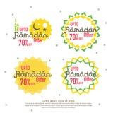 Ramadan sale offer banner set design. Promotion poster, voucher, discount, label, greeting card of Ramadan Kareem and Eid Mubarak. Celebration. background Stock Image
