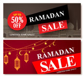 Ramadan sale vector banner designs set for shopping discount. Promotion with mosque and lantern element in a background. Vector illustration vector illustration
