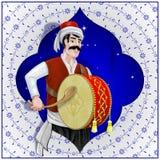 Ramadan-Schlagzeuger ist Osmanecharakterillustration Stockbilder