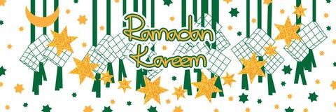 Ramadan six star gold glitter Ketupat silhouette banner Royalty Free Stock Image