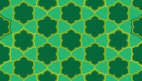 Ramadan six star six shape symmetry seamless pattern. This illustration is design and drawing Ramadan six star with six shape in symmetry seamless pattern green vector illustration