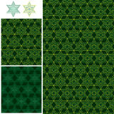 Ramadan 6 star symmetry seamless pattern. This illustration is design and drawing Islamic Ramadan six star with yellow green or green colors background symmetry Stock Photography