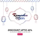 Ramadan super sale, banner design with hanging intricate lanter. Ns and space for your image. Upto 45% discount offer vector illustration