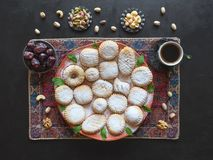 Ramadan sweets background. Cookies of El Fitr Islamic Feast. Arabic cookies Maamoul stock photos