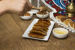 Ramadan Sweets - Qatayef. Qatayef - Traditional middle eastern sweets , usually eaten in Muslims holy month : Ramadan stock image