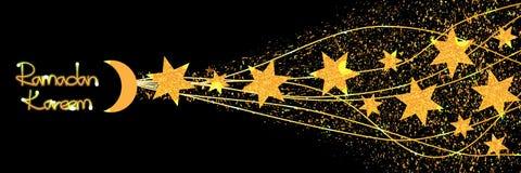 Ramadan sześć gwiazdowych złocistych błyskotliwość sztandaru skutków ilustracja wektor