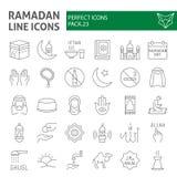 Ramadan thin line icon set, islamic symbols collection, vector sketches, logo illustrations, muslim signs linear vector illustration