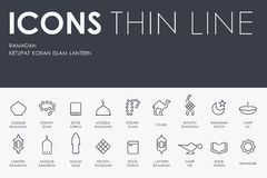 Ramadan Thin Line Icons Fotografia Stock