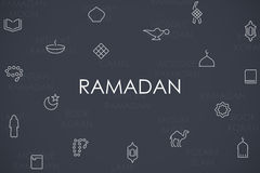 Ramadan Thin Line Icons Immagine Stock Libera da Diritti