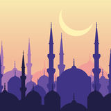 Ramadan vector greeting card with silhouette of mosque and moon. Stock Image