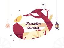 Ramadan Vector Illustration with lantern and crescent moon stock illustration