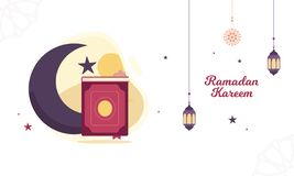 Ramadan Vector Illustration with lantern, crescent moon and the holy book royalty free illustration