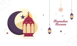 Ramadan Vector Illustration with lantern and crescent moon royalty free illustration