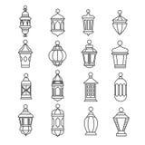 Ramadan vintage lantern linear icons. Vector muslim antique lamp symbols royalty free illustration