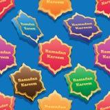 Ramadan zes kleurrijke naadloze patroon van de ster 3d symmetrie stock illustratie