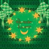 Ramadan zes stergoud schittert ketupat cirkel rond effect stock illustratie