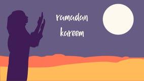 Ramadanachtergrond kareem met het mooie vrouwen bidden royalty-vrije illustratie