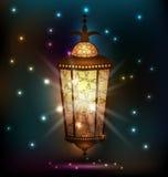 Ramadanachtergrond met Arabische lantaarn Stock Foto's