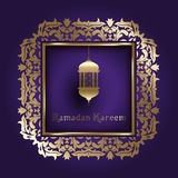 Ramadanachtergrond met decoratief kader Royalty-vrije Stock Fotografie