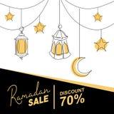 Ramadanf?rs?ljningsbaner med den dekorativa lyktan, m?nen och stj?rnan Islamisk h?lsa mallvektorillustration stock illustrationer
