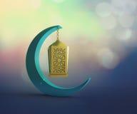 Ramadani półksiężyc z dyndać lampion Fotografia Stock