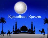 Ramadankareem med att gå kamelhusvagnen och konturmoskén royaltyfri illustrationer