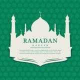 Ramadankareem med moskébaneretiketten på arabisk design för vektor för modellgräsplanbakgrund vektor illustrationer