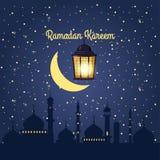 Ramadankareembakgrund, illustration med arabiska lyktor och guld- halvm?nformig, p? stj?rnklar bakgrund Vektor, stock illustrationer
