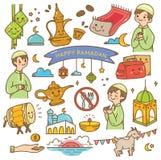 Ramadankawaiiklotter royaltyfri illustrationer