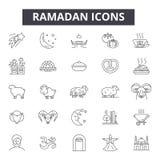 Ramadanlinje symboler, tecken, vektoruppsättning, översiktsillustrationbegrepp royaltyfri illustrationer