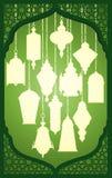 Ramadanlykta med den islamiska dekorativa ramen royaltyfri illustrationer