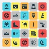 Ramadansymbolsuppsättning Samling av förbjudet, minaret, läge och andra beståndsdelar Inkluderar också symboler liksom ön vektor illustrationer