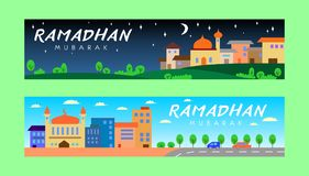 Ramadhan Banner Night and Day Royalty Free Stock Photo