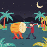 Ramadhan Bedug. Man hitting drum celebrating ramadhan, eid ul fitri stock illustration