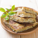 Ramadhan food. Malaysian food murtabak usually sold in Indian Muslim restaurants and stalls , stuffed with minced mutton, garlic, egg and onion, and is eaten Stock Photography
