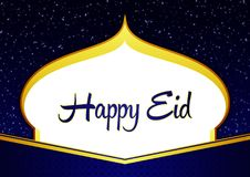 Happy Eid Ramadhan Elegant Blue and Gold Greeting Card with Mosque Shilloutte, Stars, and Ornament Stock Photos