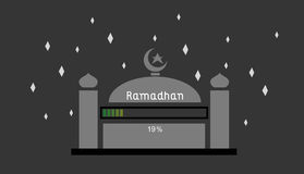 Ramadhan 19%. This is an illustration about ramadhan is coming the loading still 19 Royalty Free Stock Images
