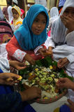 Ramadhan. Islamic elementary school students do iftar in Ramadan in the city of Solo, Central Java, Indonesia Stock Photos