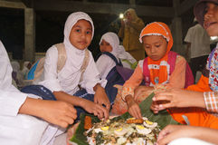 Ramadhan. Islamic elementary school students do iftar in Ramadan in the city of Solo, Central Java, Indonesia Royalty Free Stock Photography