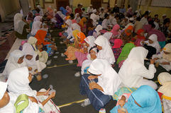 Ramadhan. Islamic elementary school students do iftar in Ramadan in the city of Solo, Central Java, Indonesia Stock Photography