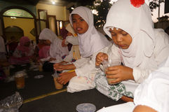 Ramadhan. Islamic elementary school students do iftar in Ramadan in the city of Solo, Central Java, Indonesia Royalty Free Stock Image