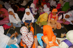 Ramadhan. Islamic elementary school students do iftar in Ramadan in the city of Solo, Central Java, Indonesia Royalty Free Stock Images