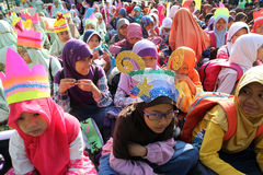 Ramadhan. Islamic school students are doing activities welcoming the holy month of Ramadan in the city of Solo, Central Java, Indonesia Royalty Free Stock Photos
