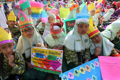 Ramadhan. Islamic school students are doing activities welcoming the holy month of Ramadan in the city of Solo, Central Java, Indonesia Stock Images