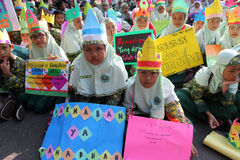 Ramadhan. Islamic school students are doing activities welcoming the holy month of Ramadan in the city of Solo, Central Java, Indonesia Royalty Free Stock Images