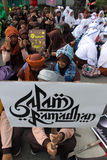 Ramadhan. Islamic school students are doing activities welcoming the holy month of Ramadan in the city of Solo, Central Java, Indonesia Royalty Free Stock Photo