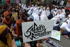 Ramadhan. Islamic school students are doing activities welcoming the holy month of Ramadan in the city of Solo, Central Java, Indonesia Stock Image