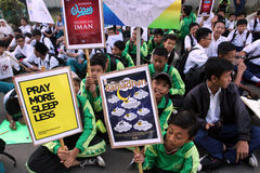 Ramadhan. Islamic school students are doing activities welcoming the holy month of Ramadan in the city of Solo, Central Java, Indonesia Royalty Free Stock Image