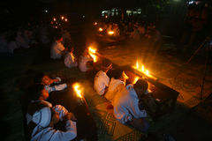 Ramadhan. Islamic school students learning the Quran by lighting oil lamps in the month of Ramadan in the town of Solo, Central Java, Indonesia Royalty Free Stock Photos