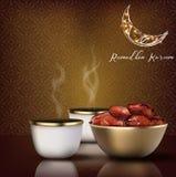 Ramadhan kareem Εορτασμός κομμάτων Iftar με το παραδοσιακά φλυτζάνι καφέ και το κύπελλο των ημερομηνιών διανυσματική απεικόνιση
